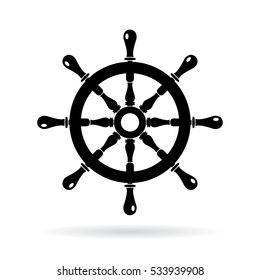 Boat steering wheel vector icon on white background. Ship steering wheel vector icon.