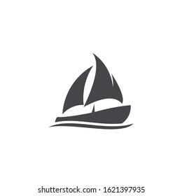 Boat and traditioanal ship simple unique logo icon. Minimal silhouette sail boat logo,eps 10
