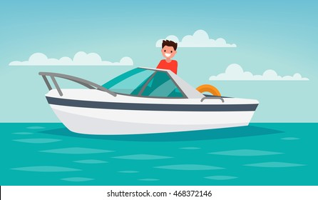 Boat trip. Recreation. The man controls the boat. Vector illustration of a flat design