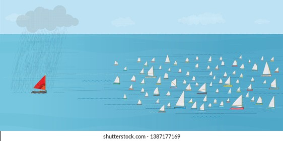 Boat under Rain Cloud falling behind the Fleet, Tough times, Loser, Last, Underdog, Downtrodden, Last Place, Battling on, Failure, against all odds, Dark times, Struggle, Long Shot, Bad luck, Worst