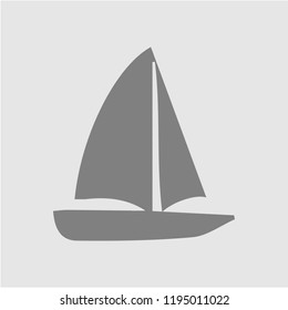 Boat vector icon. Sailboat illustration. Ship simple isolated pictogram.