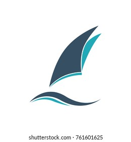 boat and wave symbol logo element web design icon template.