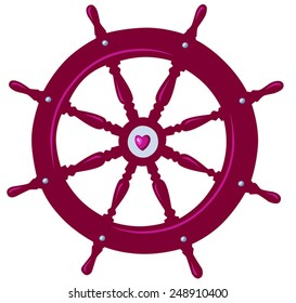 Boat wheel with a heart