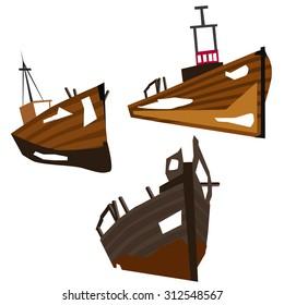 Boat wrecks illustrations