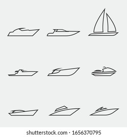 boat yacht vector icon water transport line icon set