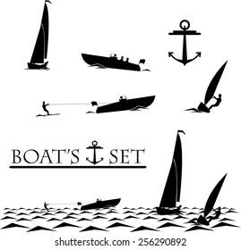Boat, yacht, watherski, windsurfing and anchor set