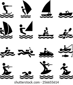 Boating, swimming and other water activities symbols