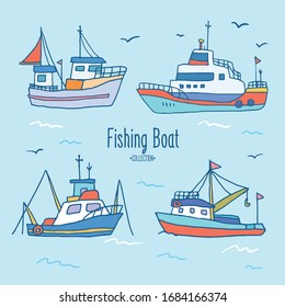 Boats collection. Cute hand-drawn boats.