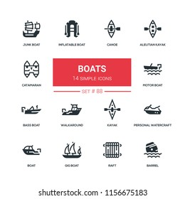 Boats - flat design style icons set. High quality black solid pictograms. Canoe, aleutian kayak, catamaran, inflatable, junk, motor, bass, gig boat, walkaround personal watercraft raft barrel