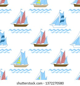 Boats on sea seamless pattern for child textile