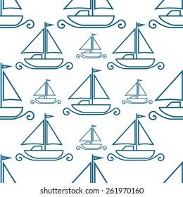 Boats on white background. Seamless pattern.