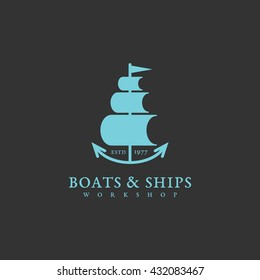 Boats and ships logo template design. Vector illustration.