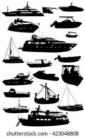 Boats silhouettes,sea transportation vector set