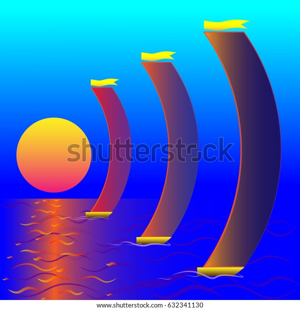 boats and sunset produce effect horizontal wifi icon