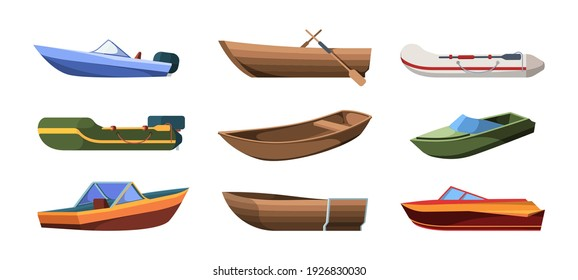 Boats types. Wooden ships for ocean or marine sail garish vector transport for river flat illustrations set isolated