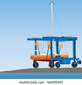 A Boatyard Gantry Crane lifting a Yacht out of the water for Maintenance