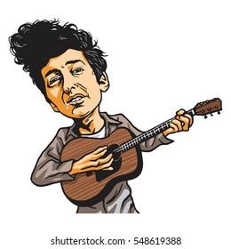 Bob Dylan Cartoon Playing Guitar. Cartoon Caricature Vector. January 4, 2017