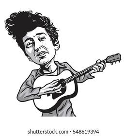 Bob Dylan Cartoon Playing Guitar. Black and White Cartoon January 4, 2017