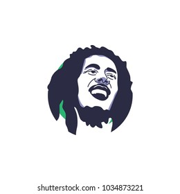 Bob Marley face vector illustration isolated with simple green circle background, as known as founding father of Reggae music