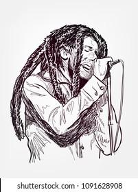 Bob Marley sing vector sketch portrait