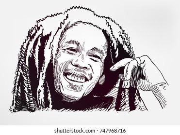 bob marley sketch vector illustration