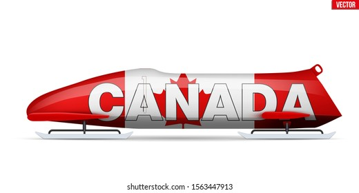 Bob sleighs with Canada flag and text. Bobsleigh Sport Country Symbol. Side view. National team for Bobsled and Skeleton. Vector Illustration isolated on white background.