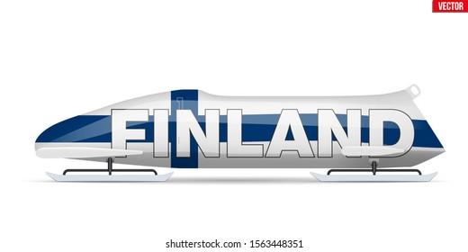 Bob sleighs with Finland flag and text. Bobsleigh Sport Country Symbol. Side view. National team for Bobsled and Skeleton. Vector Illustration isolated on white background.