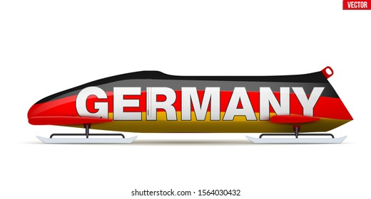 Bob sleighs with Germany flag and text. Bobsleigh Sport Country Symbol. Side view. National team for Bobsled and Skeleton. Vector Illustration isolated on white background.