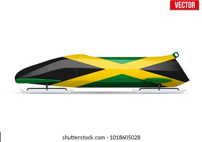 Bob sleighs with Jamaica flag. Bobsleigh Sport Country Symbol. Side view. National team for Bobsled and Skeleton. Vector Illustration isolated on white background.