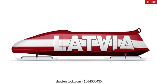 Bob sleighs with Latvia flag and text. Bobsleigh Sport Country Symbol. Side view. National team for Bobsled and Skeleton. Vector Illustration isolated on white background.