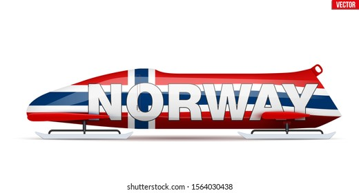 Bob sleighs with Norway flag and text. Bobsleigh Sport Country Symbol. Side view. National team for Bobsled and Skeleton. Vector Illustration isolated on white background.