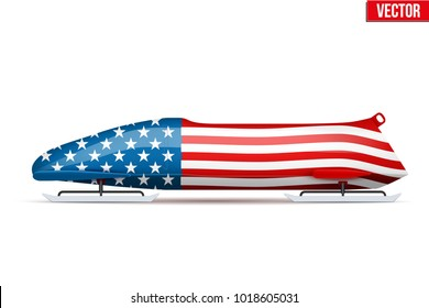 Bob sleighs with USA flag. Bobsleigh Sport Country Symbol. Side view. National team for Bobsled and Skeleton. Vector Illustration isolated on white background.