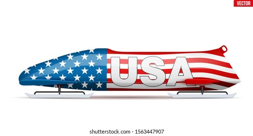 Bob sleighs with USA flag and text. Bobsleigh Sport Country Symbol. Side view. National team for Bobsled and Skeleton. Vector Illustration isolated on white background.