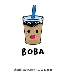 boba character illustration cute simple
