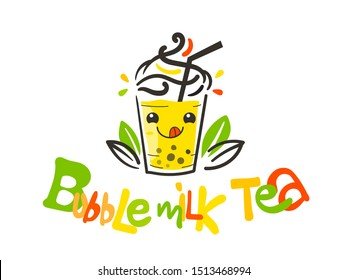 Boba Milk Tea Logo, Bubble tea, Taiwan Drinks, Fresh drink sign, Beverage symbol with cute and kawaii doodle, Linear cocktail outline icon - Vector