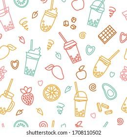 Boba tea seamless pattern. Cups, cocktail, juice, fruits, mango, orange, strawberry, chocolate, caramel, heart, leaves. Bubble milk tea with tapioca ball on white background. vector illustration
