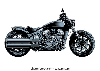 Bobber or chopper motorcycle, side view, isolated on white background. Monochrome hi-detailed vector illustration.