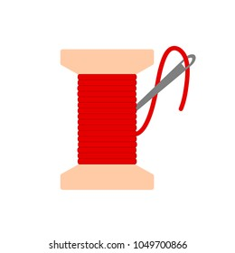 bobbin with red needle thread icon flat. vector illustration