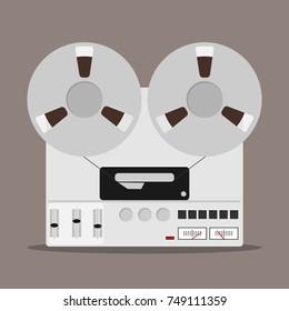 Bobbin tape recorder, badge of bobbin tape recorder. Flat design, vector illustration, vector.