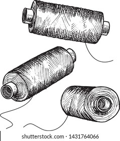 Bobbins with threads for sewing or sewing machine in three different angles. Sketch in graphic technique. Vector illustration.