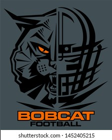 bobcat football team design with mascot and facemask for school, college or league