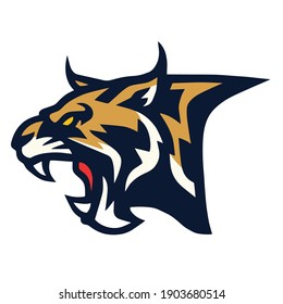 Bobcat Lynx Wildcat Angry Roaring Logo Sports Mascot Vector Illustration Icon