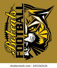 bobcats football team design with half mascot and laces for school, college or league