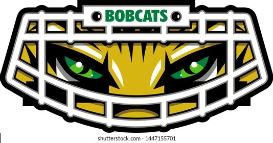 bobcats football team design with mascot wearing facemask for school, college or league