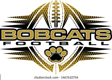bobcats football team design with paw print and ball for school, college or league