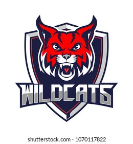 bobcats or wild cats for sport team vector logo template