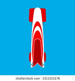 Bobsled or bobsleigh red sled top view vector flat icon. Winter snow game sport skeleton race equipment competition