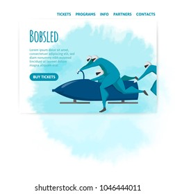 Bobsled competitions. Vector illutration, design template of sport site header, banner or poster.