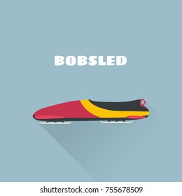 Bobsled flat concept vector illustration. Vector illustration. Winter Sport Bobsleigh.