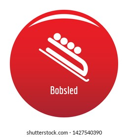 Bobsled icon. Simple illustration of bobsled vector icon for any design red